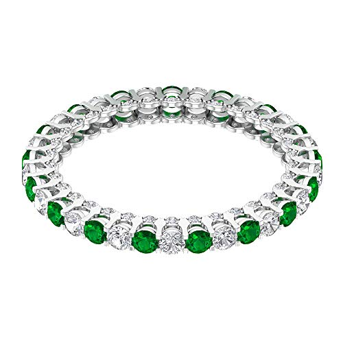 Rosec Jewels 10 quilates oro blanco redonda round-brilliant-shape H-I Green Diamond Zafiro azul Leb creado