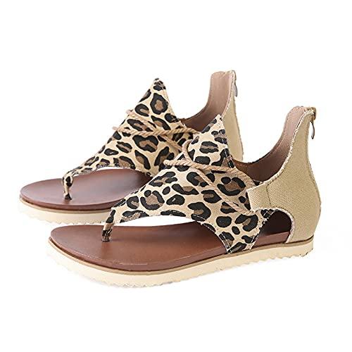 Damen Sandalen Mode Sommer Leopard Schlange Zebradruck Reißverschluss Strandsandalen Flache Schuhe Round Toe Flip Flops Sommersandalen (Braun, 36)