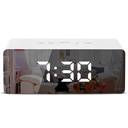 Sveglia a Specchio con Display LED Digitale Sveglia con Temperatura, Snooze, luminosità Regolabile, Calendario della Data, Porta USB Luce Notturna