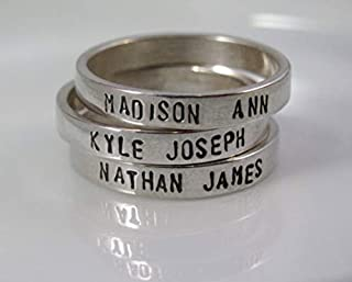 name stamped rings