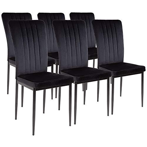 Silla de comedor Albatros Modena, Set de 6 sillas, negro, certificada por la SGS