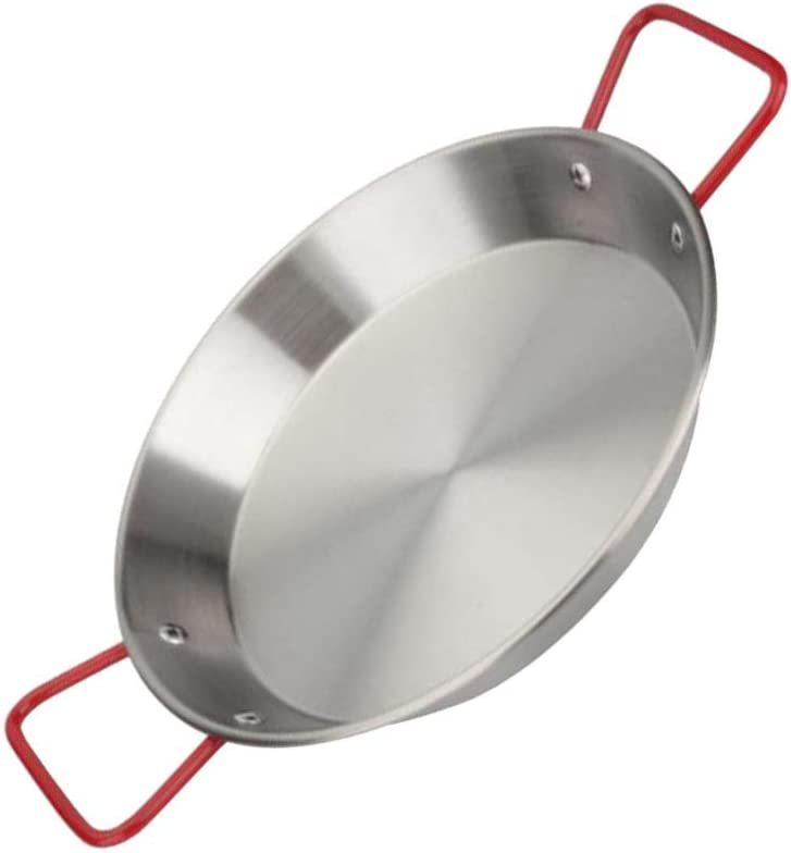 FRCOLOR Stainless Weekly update Steel Paella Pan Anti with online shop Handles Cooking Sca