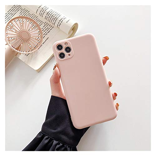 Glqwe Funda telefónica para iPhone 12 Mini Pro MAX 6 7 8 11 S Plus X S XR MAX Moda Cámara Proteger Candy Color Sólido Silicona Suave (Color : Pink, Material : For iPhone 11)
