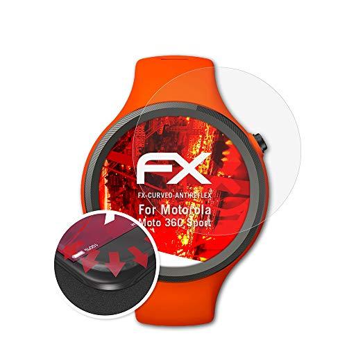 atFoliX Schutzfolie kompatibel mit Motorola Moto 360 Sport Folie, entspiegelnde & Flexible FX Bildschirmschutzfolie (3X)