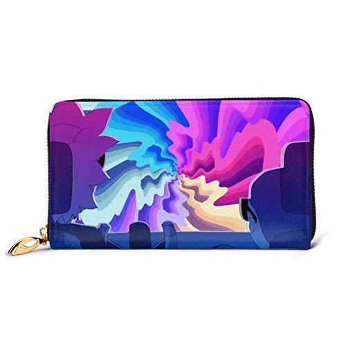 Leder Clutch TV-Show Ri- Mor-Ty Lustige Brieftasche Reißverschluss Damen Mode Wristlet Geldbörsen Tasche Multi Kartenhalter Organizer Brieftaschen