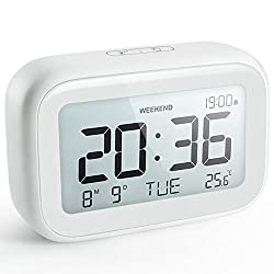 HAPTIME Digital Alarm Clock for Bedroom Travel Office - Modern Minimalist Style with LCD Display Volume Adjustable Snooze 12/24Hr and Weekend Mode, Easy Setting, 2 AAA Battery Operated (White)