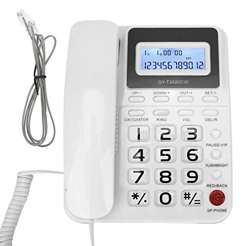 Teléfono de Escritorio con Cable con Altavoz Grabador de Voz Pantalla de identificación de Llamadas Teléfono Fijo con Cable para Oficina en casa Hotel, teléfono decoración del hogar