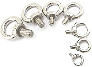 Ochoos SS304 Metric Thread M3 M4 M5 M6 M8 M10 M12 M16 M18 M20 M24 Lifting Bolt Eye Hook Nuts Shouldered Lifting Screw Eye Ring Bolts - (Thread Diameter: 10PCS X M3)