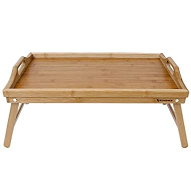 SONGMICS Bamboo Breakfast Bed Tray Laptop Table Serving Tray w' Handles Foldable Legs ULLD530