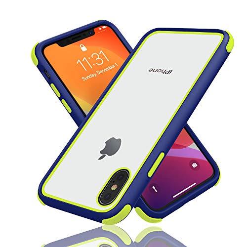 Geestyle Funda para iPhone X,Funda para iPhone XS,Funda para iPhone 10,Silicona Transparente PC/TPU Bumper Antigolpes Caso para iPhone XS X Naranja Azul