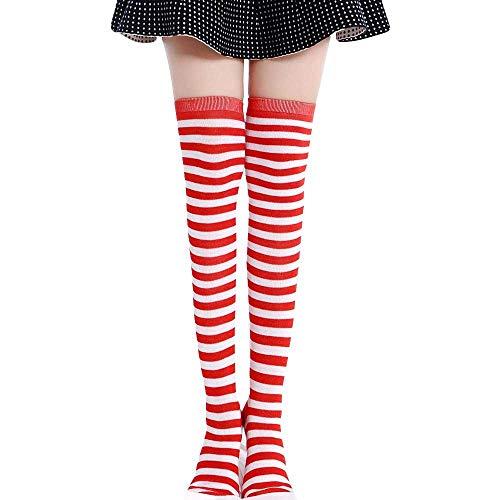 SUCES Damen Frauen Lange Streifen Socken Overknee Strümpfe Kniestrumpfe Halterlose Strümpfe Winter Warme Baumwollstrümpfe