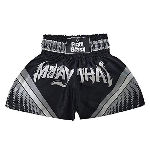 Short Calção Muay Thai - Athrox - Pre/Cinza - GG