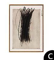 手描きの絵、ベッド用blackdと白の抽象的なグラフィティ絵画、ホール、リビングルームミニマル絵画,C,60x80cm