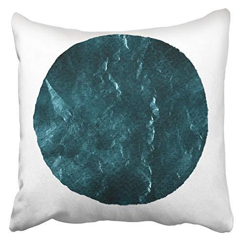 AEMAPE Fundas de Almohada de Tiro Acuarela Abstracto Azul sombreado círculo de Abeto Blanco Moderno Punto Forma Redonda en Tonos 40X40 cm Funda de cojín