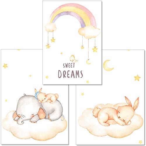 artpin® 3er-Set Poster Babyzimmer von Künstlerin - A4 Bilder für Kinderzimmer Mädchen Junge - Elefant,Hase,Regenbogen(P5)