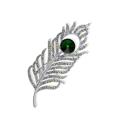 ZWSHOP Broche de cristal con plumas para mujer, material de aleacin, vestido de decoracin occidental, caja de regalo, multicolor opcional (color: verde)