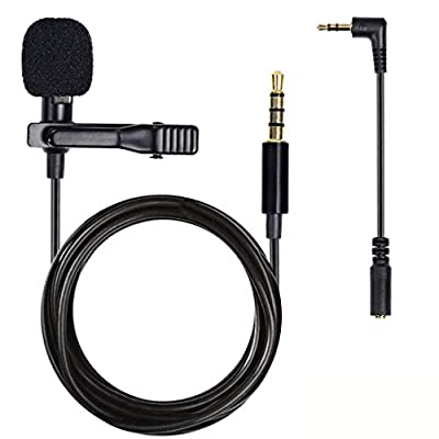 Lapel Clip on Microphone, Lavalier Microphone Lapel Mic Omnidirectional Condenser Microphone for iPhone Samsung S9 S8 Sony Android iPhone Smartphones or Mobile Device Computer PC Laptop Microphone