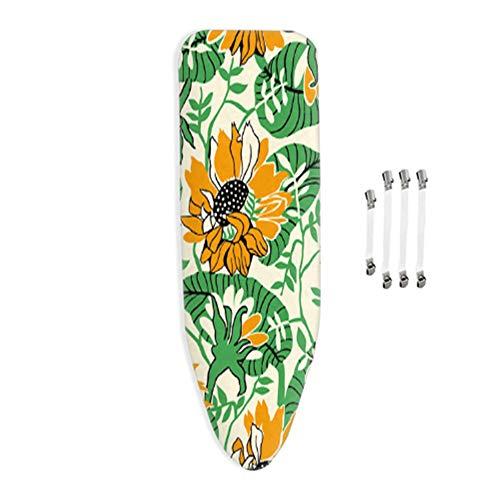 Funda para Tabla de Planchar, Dimensión de la Funda, 100% algodón, Adecuado para Todas Las Tablas de Planchar Grandes, con Cordones y 4 Clips, 120x40cm,Flor