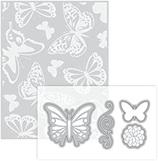 Butterfly Embossing Folder & Dies By Recollections - 2 Butterflies, Flourish, & Flower