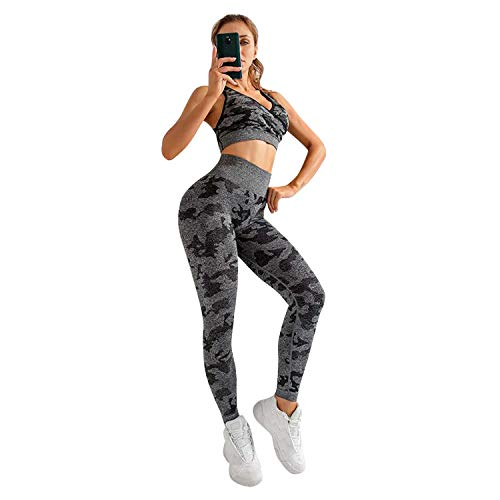 BIGFIRSE Womens Yoga Outfits 2 Piece Set High Waist Leggings and Sports Bra Fitness Workout Gym Clothing (Large, Camo Grey)