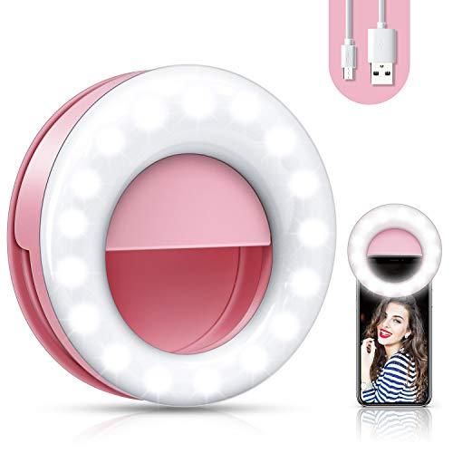 2020 NuovoSelfie Ring Light,luce selfie,anello autoscatto ricaricabile a 48 LED,Lampada Anulare Regolabile, con 3 Modalita` di Illuminazione e 3 Livelli di Luminosità. (Rosa)