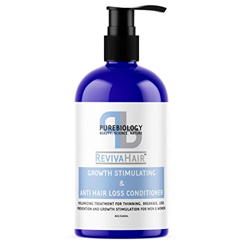 of stimulate for skin hairs Pure Biology Hair Growth Stimulating Conditioner with Biotin, Keratin, Argan Oil, Coconut Oil, Vitamins B5 +E & Breakthrough Anti Hair Loss Complex for Thinning, Damaged & Dry Hair for Men & Women