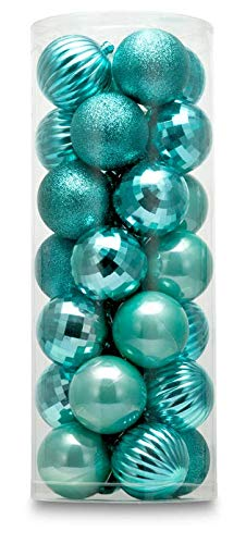 AUXO-FUN 2.36' 28ct shatterproof Christmas Ball Ornaments in 4 finishes for Christmas Tree Decoration (Turquoise Blue, 6cm)