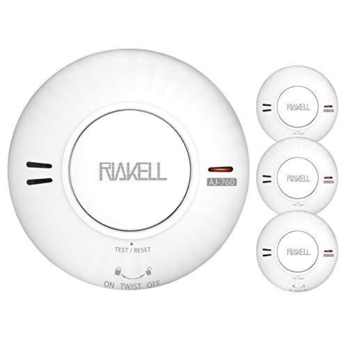 RIAKELL 3er Set Rauchmelder 10 Jahre Batterie, TÜV und DIN EN 14604 geprüfter Rauchwarnmelder Feuermelder mit fotoelektrischem Sensor
