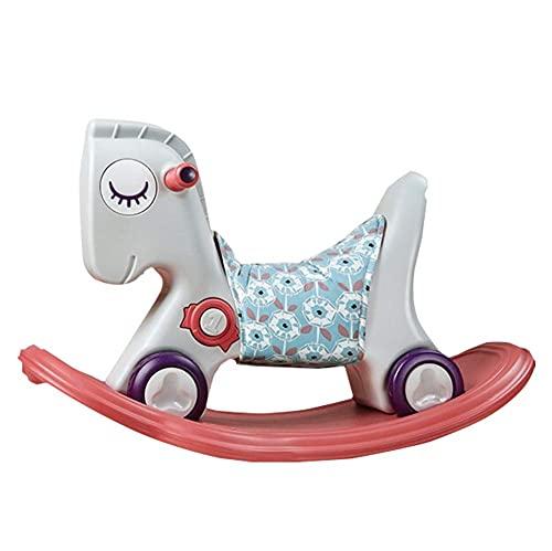 Caballo de balanceo del bebé, carro de deslizamiento de los niños lindos con la música/paseo de doble propósito en el carro de empuje para el regalo de cumpleaños del niño Kindergarten, beige
