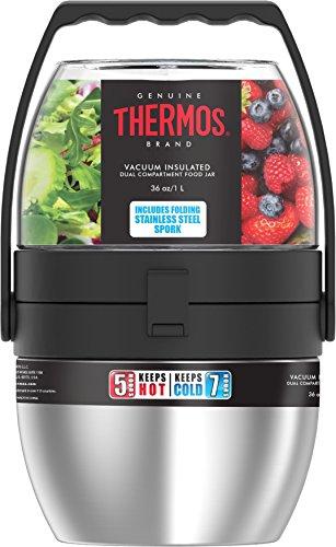 THERMOS 4044.205.110 Speisegefäß Dual Compartment, Edelstahl mattiert/Kunststoff transparent 1, 1 l, Inkl. Göffel, BPA-Free