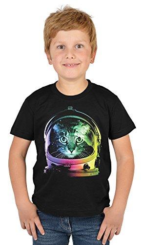 Motiv-Jungen-Shirt/Kinder-Shirt mit Katzen-Druck: Space Cat - tolles Geschenk- Cooler Look/kräftige Farben