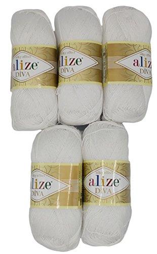 Alize 5 x 100 Gramm Wolle Diva Batik einfarbig, 500 Gramm merzerisierte Strickwolle Microfiber-Acryl (weiß 55)