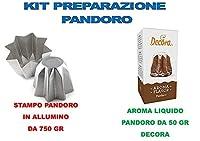 Kit n°6 per realizzare Pandoro Artigianale Natalizio 1 stampo pandoro in alluminio da 1 KG 1 Aroma Liquido Gusto Pandoro Decora 50 gr Perfetto per realizzare e cuocere uno il pandoro artigianale