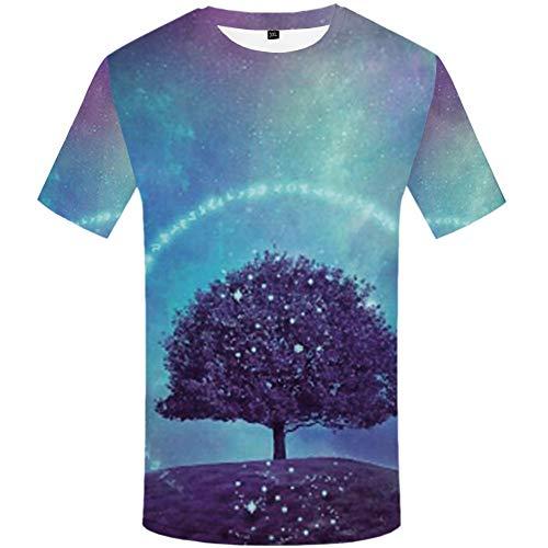 YAMAO Rundhals T- Shirt Homme,Sport, T-Shirt imprimé 3D Grand Arbre imprimé décontracté Top col Rond sous Le Ciel Nocturne
