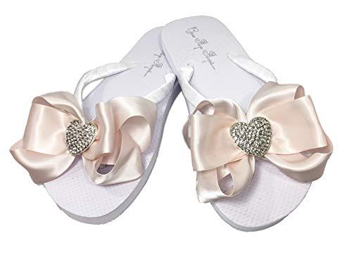 Ice Pink Heart Bow White Flip Flops, Rhinestone with Blush Satin Ribbons (White/Ice Pink, 9)