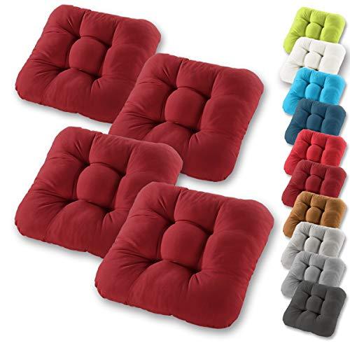 Gräfenstayn® 4er-Set Sitzkissen 38x38x8cm aus 100% Baumwolle (Bezug) mit Öko-Tex Siegel in vielen Farben, für Indoor und Outdoor mit Dicker Polsterung (Bordeaux)