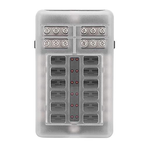 Qiilu Caja de fusibles, 12 vías, 24 piezas, caja de fusibles, 1 entrada, 12 salidas con indicador LED, bloque de caja de soporte de fusible para coche, camión, barco