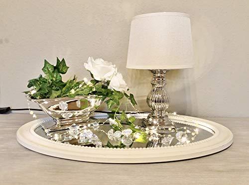 DRULINE Tischlampe Steffi Lampe Nachttischleuchte mit Schirm Klassische Dekoration fürs Schlafzimmer Wohnzimmer Esszimmer aus Keramik Silber Fuß Mittel H47 cm Creme