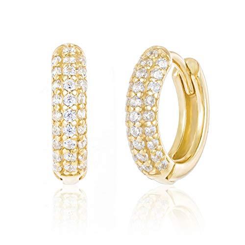 Brandlinger ® Atelier Ohrringe für Damen mit Zirkonia Steinen aus vergoldetem 925 Sterling Silber. Creolen in Gold oder Silber mit Durchmesser außen 12mm (gold)