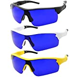 Men's Golf Ball Finder Glasses - True Blue Lens - Sports Style Frame - Wrap Around Sunglasses