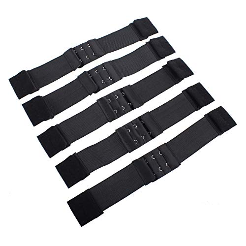 Leeven 5 Pcs Adjustable Elastic Band for Wigs With Hooks Black Adjustable Straps Black Elastic Wig Band for Wigs/ Lace Frontal/ Lace Closure/Bra Making DIY 1.1 Inch Width (28mm)