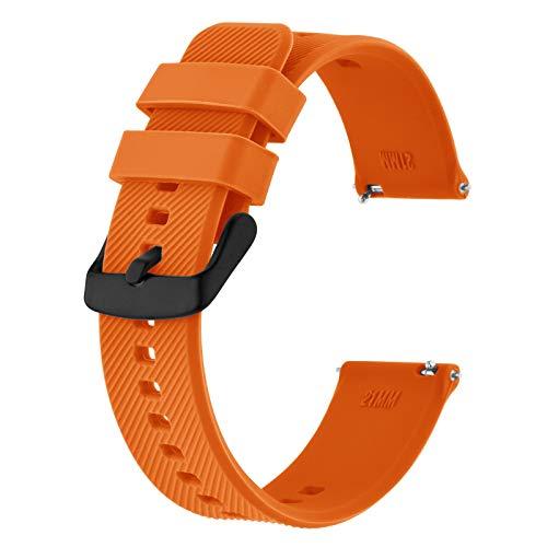 BISONSTRAP Cinturino 22mm, Cinturini per Orologio in Silicone a Sgancio Rapido per Uomo Donna (Arancio,Fibbia Nera)