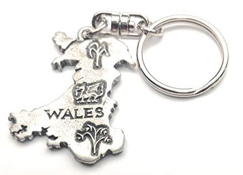 NWGifts Kaart van Wales Handgemaakt Van Engels Tinnen Sleutelhanger in geschenkzakje