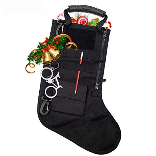 OBSGUMU Tactical Christmas Stocking Bag(Black) with Molle Gear,Military Style Christmas Ornaments,for Christmas Home Decorations-As a Great Gift for Him,Soldiers,Military or Survivalists