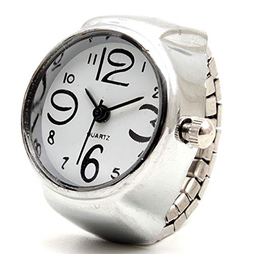 GoodsLand 【 フリーサイズ 】 指輪 時計 リング ウォッチ 文字盤 アナログ ジュエリー シンプル 丸型 GD-RINGWT-WH