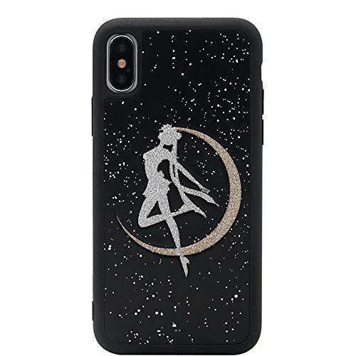 iPhone X Hülle, iPhone Xs Hülle, MC Fashion Cute 3D Glitter Japan Cartoon Sailor Moon Crystal PU Leder Skin Black Border Hard Shell PC Case für Apple iPhone X/Xs (5,8 Zoll)