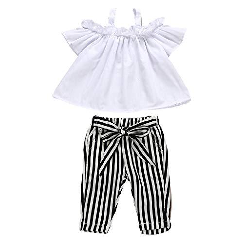 BeautyTop Baby Mädchen Kleidung Zweiteiliges Kurzarm Schulterfreie Tops + Gestreiftes Hosen 2Pcs Baby Outfits Set Stilvoller Süsser Kinderkleidung Kleidungsset für Sommer