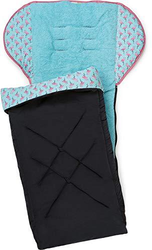 PRIEBES TIM Universal-Fußsack für Kinderwagen&Buggy/Anti-Rutschschutz durch Noppen/Fußteil abnehmbar/Baby-Fußsack atmungsaktiv, Design:flamingos aqua