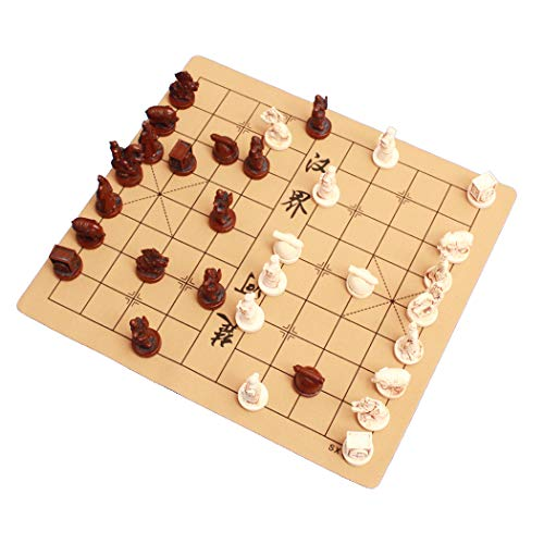 IADUMO Chinese Chess Xiangqi Board Set - Archaize Retro Terracotta Warriors Chess Board Game - Handmade Resin Chess Pieces and Leather Soft Chessboard