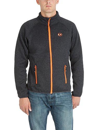 Ultrasport Herren Strickfleece Jacke Snug, Ebony/Orange, L